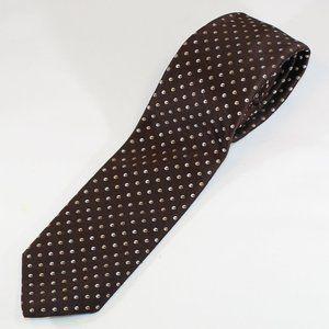 VTG Christian Dior Tie Brown w Tan & Cream Check